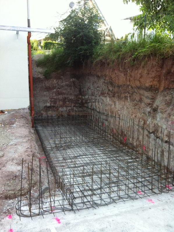 Bodenplatte für die Betonhangsicherung
